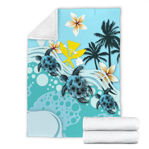 Image of Hawaii Premium Blanket - Blue Turtle Hibiscus A24
