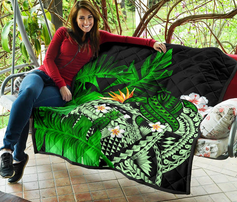 Image of Kanaka Maoli (Hawaiian) Premium Quilt, Polynesian Pineapple Banana Leaves Turtle Tattoo Green
