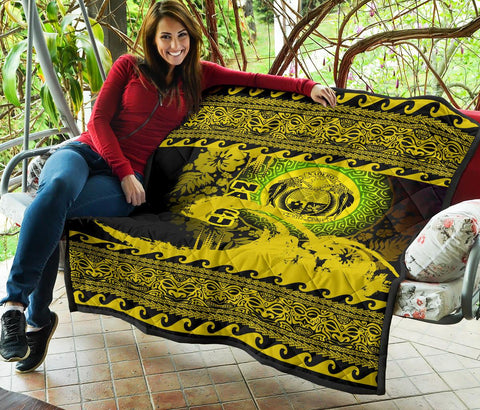 Image of Nauru Quilt Wave Yellow Design K62