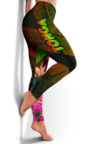 Image of Tonga Polynesian Women's Leggings -  Hibiscus and Banana Leaves