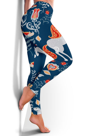 Scandinavian style Women's Leggings- Unicorn Folk Art - BN21