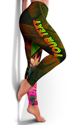 Guam Polynesian Personalised Women's Leggings -  Hibiscus and Banana Leaves