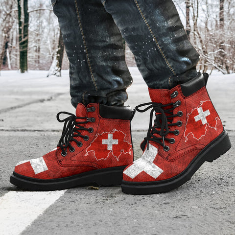 Switzerland All Season Boots Map Flag K4