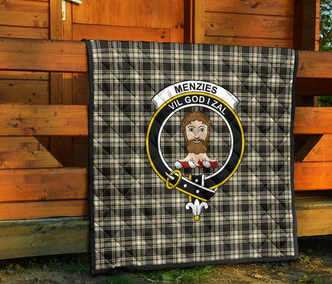 Menzies Black & White Ancient Tartan Clan Badge Premium Quilt TH8