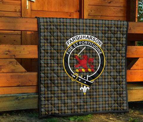 Farquharson Weathered Tartan Clan Badge Premium Quilt TH8
