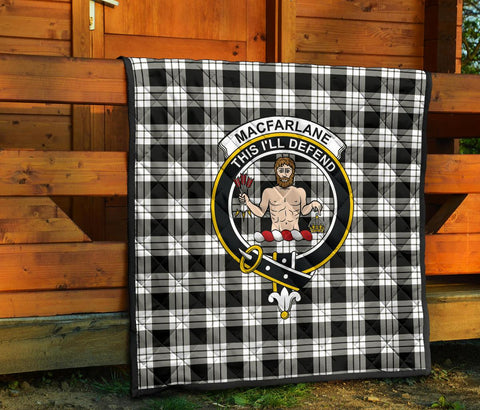 MacFarlane Black & White Tartan Clan Badge Premium Quilt TH8
