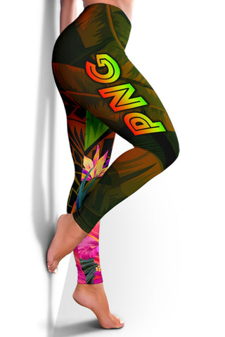 Image of Papua New Guinea Polynesian Women's Leggings -  Hibiscus and Banana Leaves