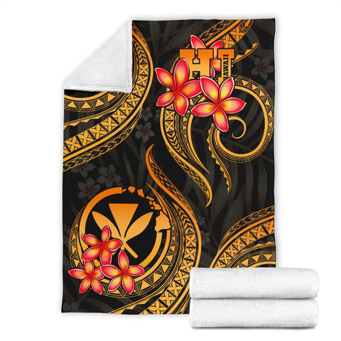 Image of Polynesian Hawaii Premium Blanket - Gold Plumeria