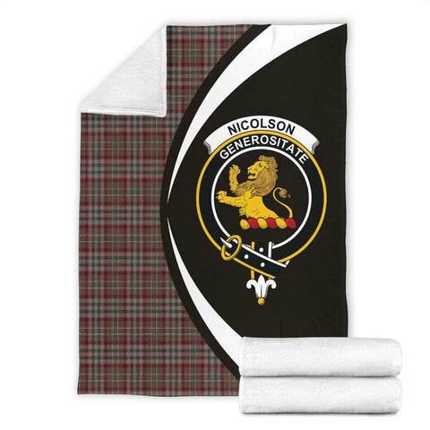 Image of Nicolson Hunting Weathered Tartan Clan Crest Premium Blanket Circle Hj4