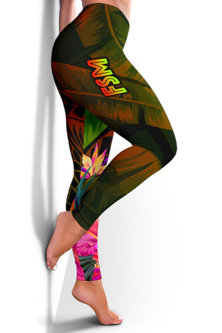 Federated States of Micronesia Polynesian Leggings -  Hibiscus and Banana Leaves