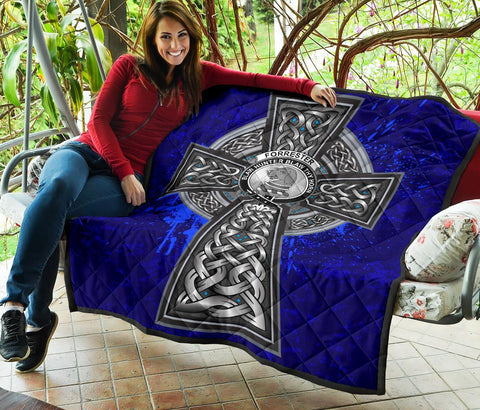 Image of Forrester Crest Scottish Celtic Cross Scotland Quilt A7