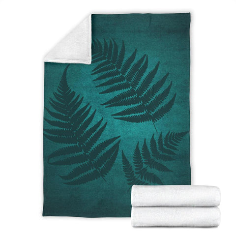 Image of Green Blue New Zealand Fern Premium Blanket | Special Custom Design