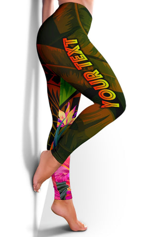 Papua New Guinea Polynesian Personalised Women's Leggings -  Hibiscus and Banana Leaves