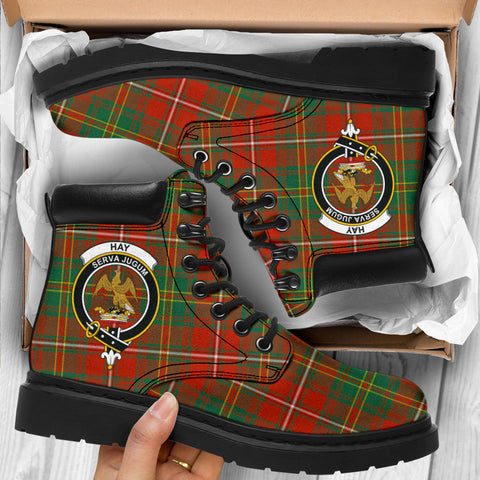 Hay Ancient Tartan Clan Crest All-Season Boots HJ4