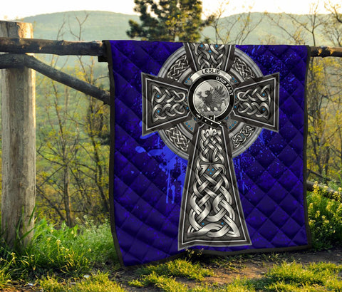 Leslie (Earl of Rothes) Crest Scottish Celtic Cross Scotland Quilt A7