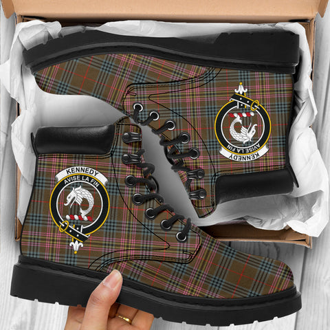 Kennedy Weathered Tartan Clan Crest All-Season Boots HJ4