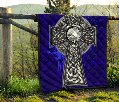 Lockhart Crest Scottish Celtic Cross Scotland Quilt A7