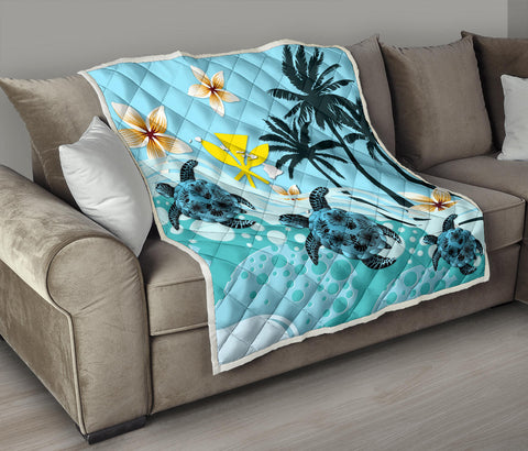 Hawaii Turtle Palm Tree Premium Quilts A24