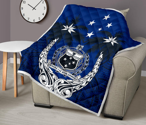 Image of Samoa Polynesian Coconut Premium Quilt (Blue) | Love the World