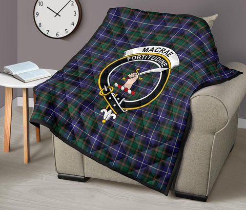 MacRae Hunting Modern Tartan Clan Badge Premium Quilt TH8
