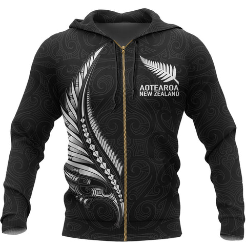 Image of Aotearoa New Zealand - Maori Fern Tattoo Zipper Hoodie | Women and Men
