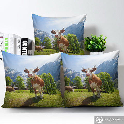 Image of Brown swiss pillow - brown swiss, pillow, switzerland cow, swisscows, home set, online shopping