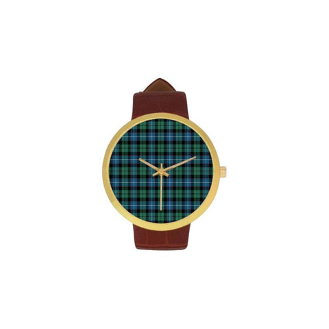 Galbraith Ancient Tartan Watch Ha8 One Size / Golden Leather Strap Watch Luxury Watches