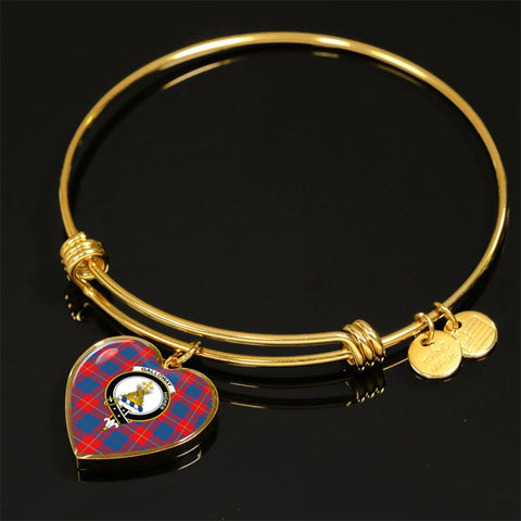 Image of Galloway Red Tartan Golden Bangle - Tm Jewelries