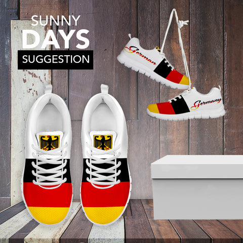 German flag with german coat of arms sneakers - german shoes, deutschland shoes, german flag, footwear, shoes, german coat of arms, online shopping