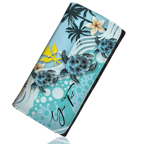 (Custom) Kanaka Maoli (Hawaiian) Wallet Women - Blue Turtle Hibiscus Personal Signature A24
