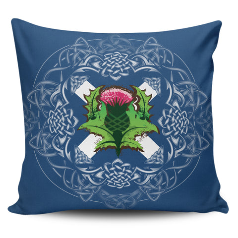 Image of Scotland Pillow Cases - Saltire Thistle Zippered Pillow | 1sttheworld