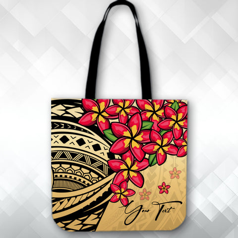 Image of (Custom) Polynesian Plumeria Gold Tote Bag Personal Signature A24