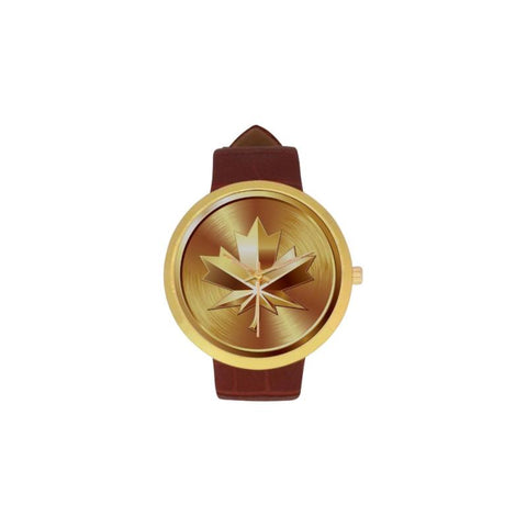 Golden Maple Medal Luxury Watch Th7 One Size / Womens Golden Leather Strap Watch(Model 212) Watches