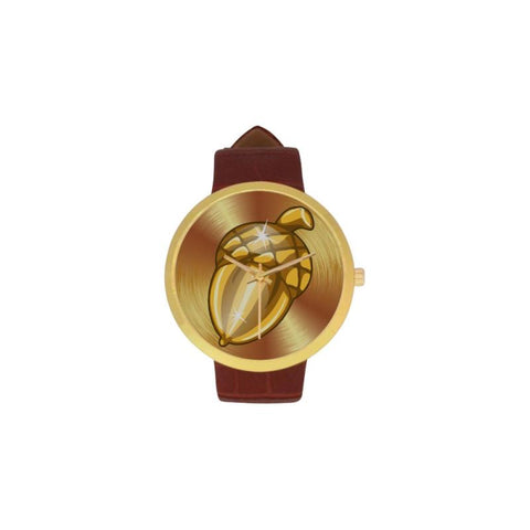 Golden Oak Fruit Luxury Watch Th7 One Size / Golden Oak Fruit Womens Golden Leather Strap