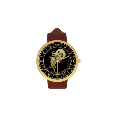Golden Style Zodiac - Aquarius Luxury Watch Th7 One Size / Aquarius Womens Golden Leather Strap