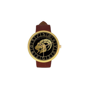 Golden Style Zodiac - Aries Luxury Watch Th7 One Size / Womens Golden Leather Strap Watch(Model 212)