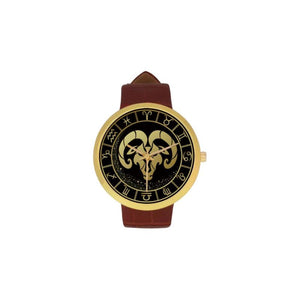 Golden Style Zodiac - Capricorn Luxury Watch Th7 One Size / Capricorn Womens Golden Leather Strap