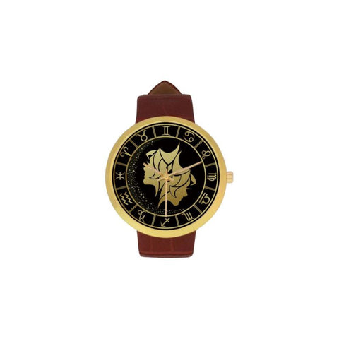 Golden Style Zodiac - Gemini Luxury Watch Th7 One Size / Gemini Womens Golden Leather Strap