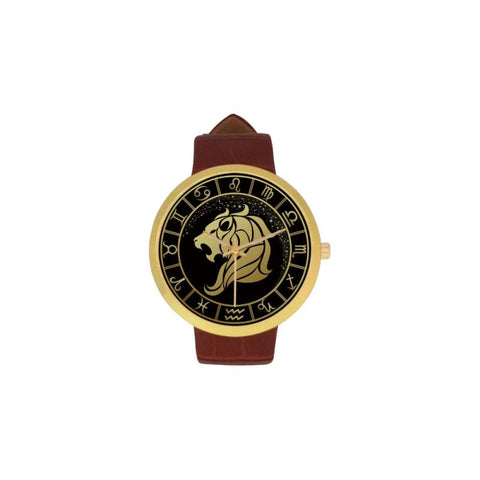 Golden Style Zodiac - Leo Luxury Watch Th7 One Size / Leo Womens Golden Leather Strap Watch(Model
