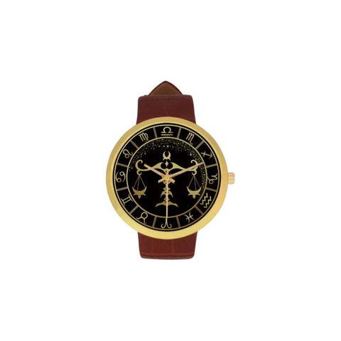 Golden Style Zodiac - Libra Luxury Watch Th7 One Size / Libra Womens Golden Leather Strap