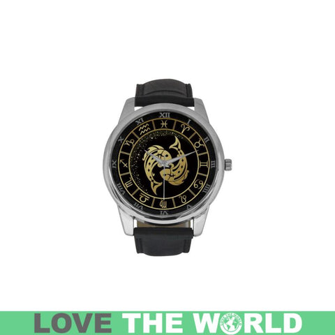 Golden Style Zodiac - Pisces Luxury Watch Th7 One Size / Pisces Womens Golden Leather Strap