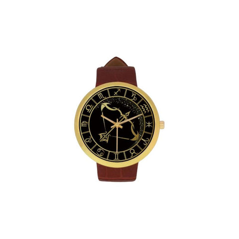 Golden Style Zodiac - Sagittarius Luxury Watch Th7 One Size / Sagittarius Womens Golden Leather