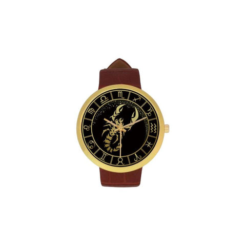 Golden Style Zodiac - Scorpio Luxury Watch Th7 One Size / Scorpio Womens Golden Leather Strap