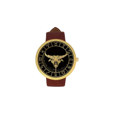 Golden Style Zodiac - Taurus Luxury Watch Th7 One Size / Taurus Womens Golden Leather Strap