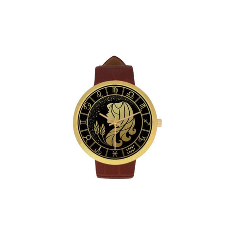 Golden Style Zodiac - Virgo Luxury Watch Th7 One Size / Virgo Womens Golden Leather Strap