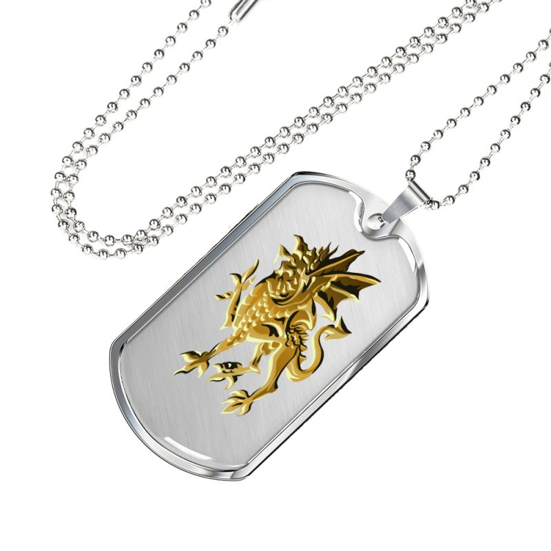 Golden Welsh Dragon Luxury Dog Tag Th7 |Accessories| Love The World