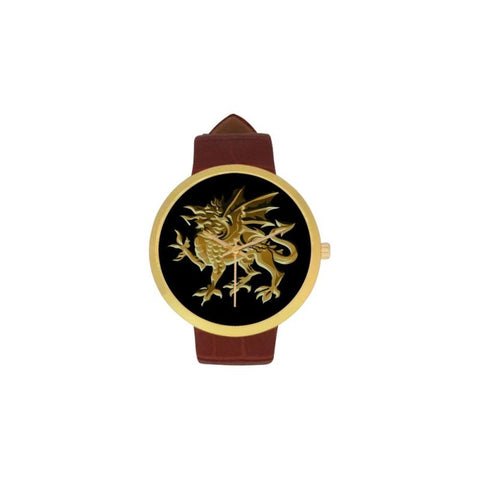 Golden Welsh Dragon Luxury Watch TH7 One Size / Womens Golden Leather Strap Watch(Model 212) Watches