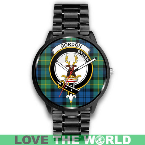 Gordon Ancient Clan Badge Tartan Leather/steel Watch - NN5 Mens 40Mm / Brown Leather-Steel Watches