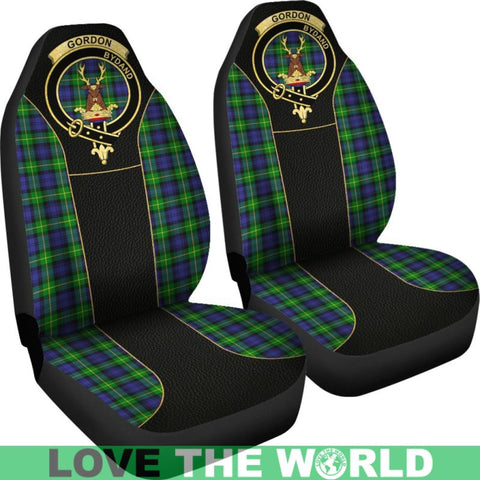 Image of Gordon Modern Tartan Clan Badge Golden Car Seat Covers Dm1