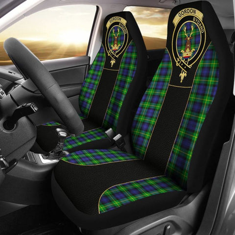 Image of Gordon Modern Tartan Car Seat Cover - Golden Clan Badge